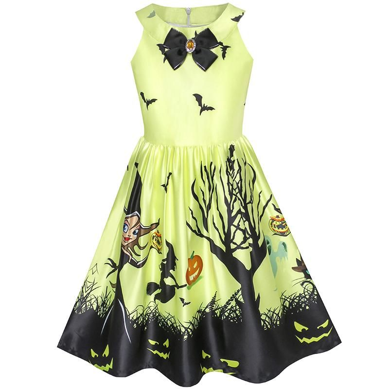 Sunny Fashion Girls Dress Halloween Witch Bat Pumpkin Costume Halter Dress 2018 Summer Princess Wedding Party Dresses Size 7-14