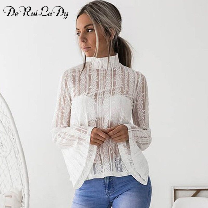 DeRuiLaDy 2018 Women Lace Blouse Shirt Elegant Flare Sleeve Long Sleeve Sexy Transparent Shits Casual Stand Chiffon White Tops