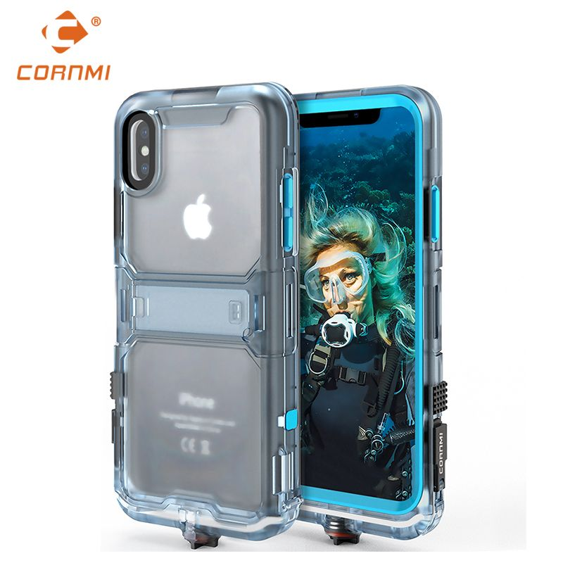 CORNMI Waterproof Phone Case For iPhone X Full Coverage Protective Cover Stand Holder PC TPE Silicone 2018 Phone cover back