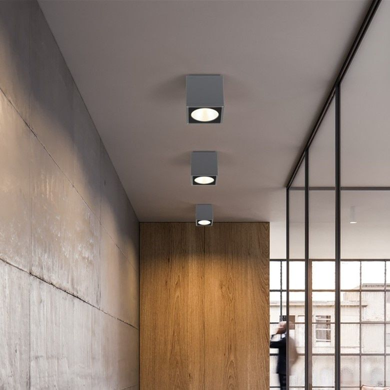 Outdoor LED Ceiling light Surface mounted lighting Square led for bathroom,balcony,stair way grey fitting warm white