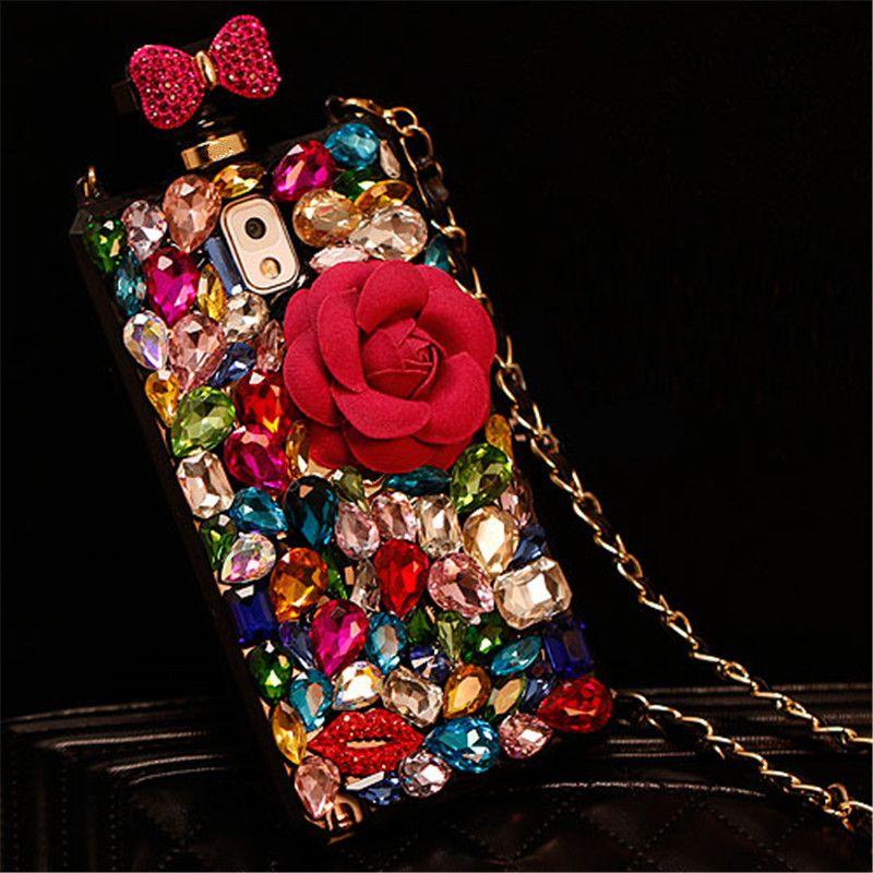 Diamant coloré Fleur caisse de bouteilles de parfum Pour Iphone 11 Pro XS Max XR X 8 7 6S Plus Samsung S10E S10/9/8 Plus S7 Bord Note 9 8