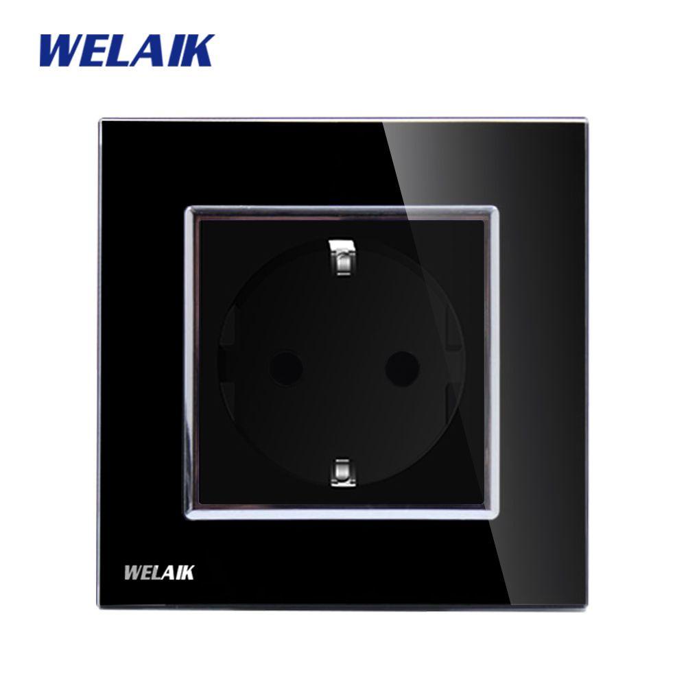 WELAIK Mur UE Prise D'alimentation Standard De L'UE Prise Noir Panneau Verre Cristal AC 110 ~ 250 v 16A Mur Puissance prise A18EB