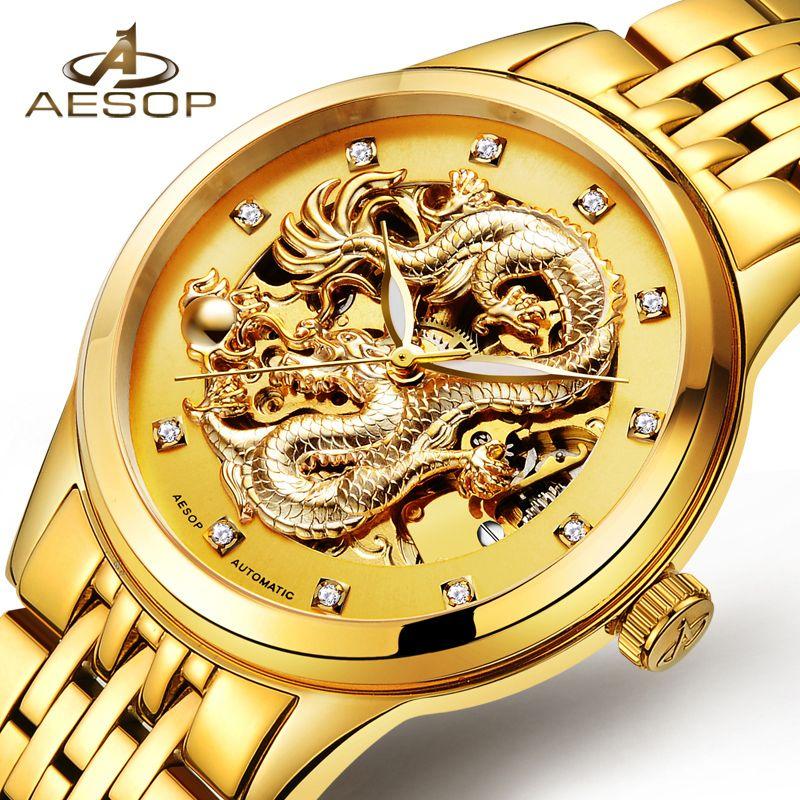 AESOP Spezielle Drachen Uhr Männer Luxus Gold Automatische Mechanische Uhr Sapphire Goldene Armbanduhr Männlichen Uhr Relogio Masculino