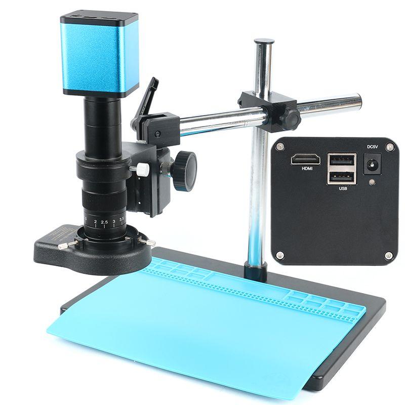 Autofokus 1080 P SONY IMX290 Sensor Industrie Mikroskop Kamera HDMI Video U Disk Recorder + 180X Objektiv + 144 LED licht + Boom Stand