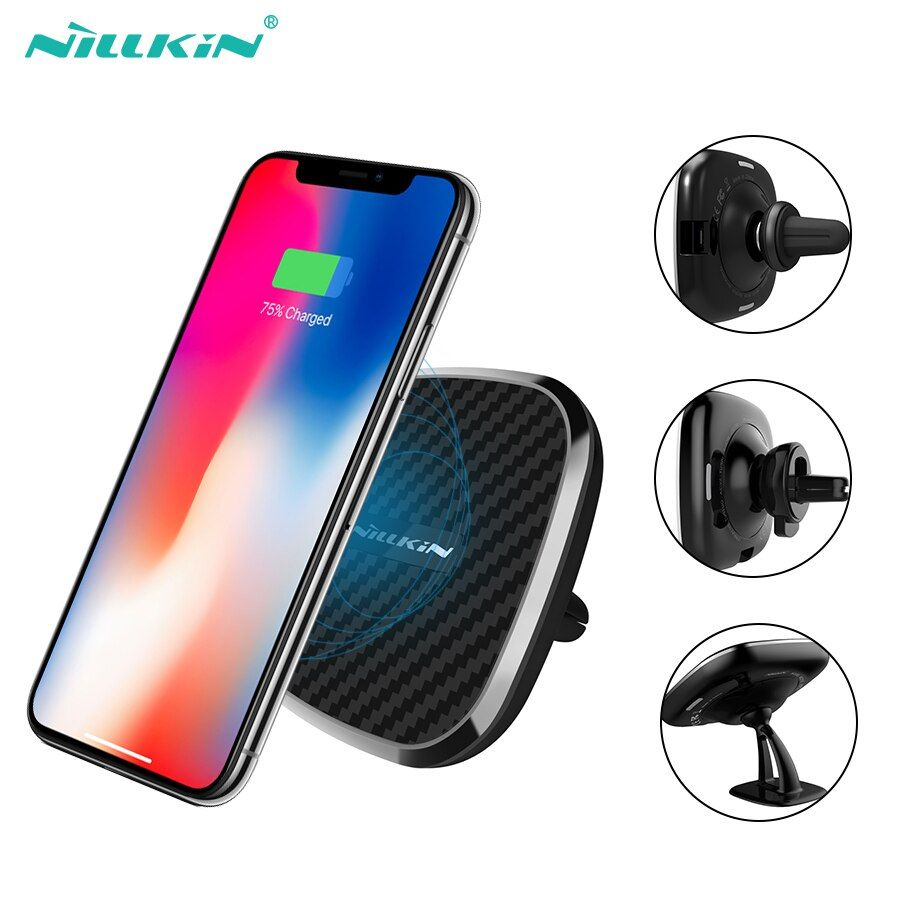 10W Qi car wireless charger fast Nillkin 2 in 1 Magnetic Vehicle Mount Phone Holder Pad For iPhone X/8/8 Plus For Samsung S9/S8