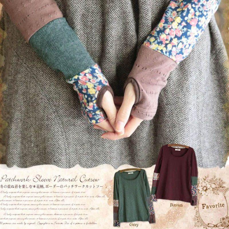 Japonais Femmes Printemps À Manches Longues Doux Matelassage Sans Doigts Extensible Main Couleur Mignon Kawaii Lolita Chemise Mori Fille D127