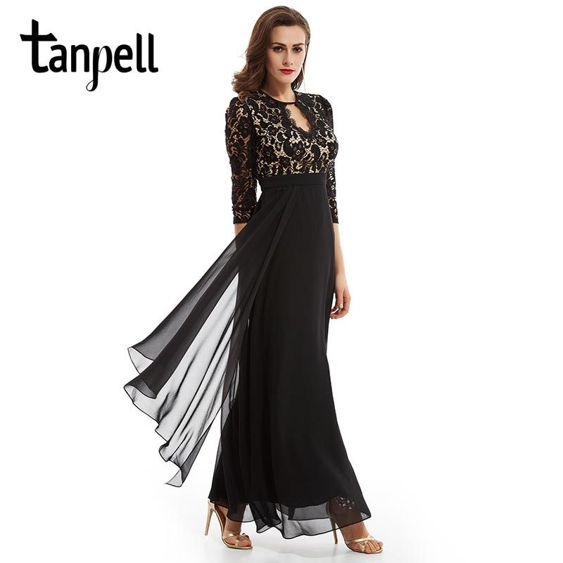 Tanpell backless evening dress black scoop lace ruched 3/4 sleeves floor length a line gown cheap prom formal long evening dress
