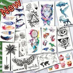 Tatuajes Temporales impermeables océano ola pluma montaña flash brillo pegatinas tatuaje arte corporal para hombres traducido manga del tatuaje