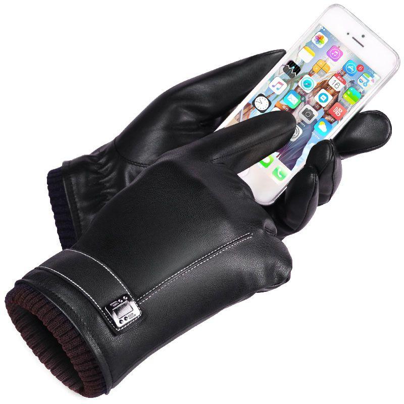 Gants en cuir gants d'hiver pour hommes écran tactile coupe-vent garder au chaud conduite Guantes homme automne et hiver gants en cuir noir