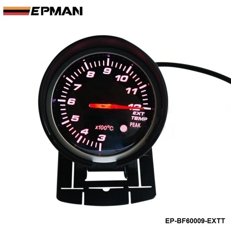 EPMAN - BF 60mm LED Exhaust Gas Temp EXT Gauge  Auto Car Motor Gauge with Red & White Light For VW GOLF 5 EP-BF60009-EXTT