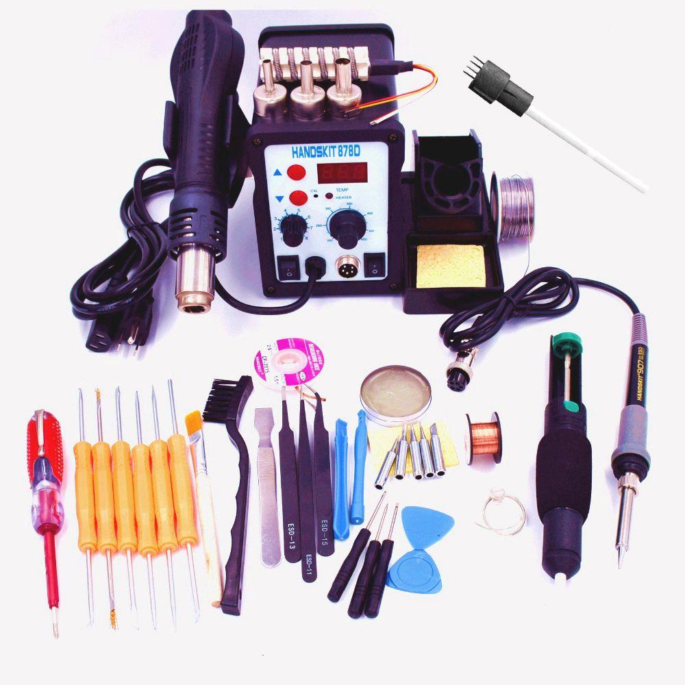 FREE SHIPPING EU air soldering station 220V 878d  8586 2in1 Rework Station Hot Air Gun + Solder Iron better than ATTEN