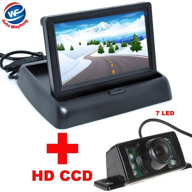 7LED Night Vision Car CCD Rear <font><b>View</b></font> Camera With 4.3 inch Color LCD Car Video Foldable Monitor Camera Auto Parking Assistance