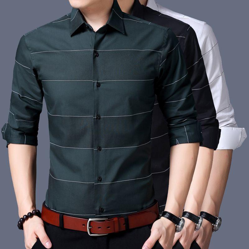 Long Sleeve Shirt Men 2017 Autumn New Fashion Designer High Quality Solid Shirt Non Iron Slim Fit Shirts Formal 3XL
