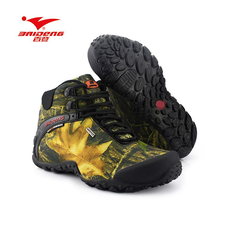 Baideng Hiking Shoes Waterproof canvas outdoor shoes Breathable upper Nonslip rubber sole big size climbing camping hiking shoes
