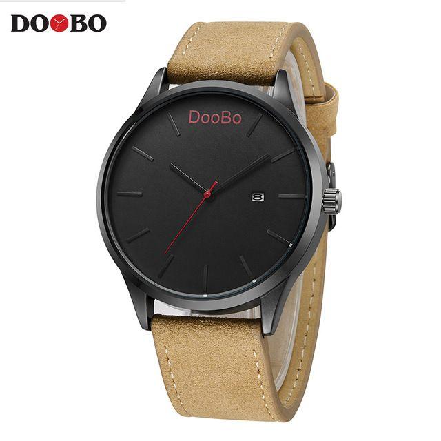 2017 DOOBO Moda Casual Para Hombre Relojes de Primeras Marcas de Lujo de Cuero Reloj de Cuarzo de Negocios Hombres Reloj Relogio masculino