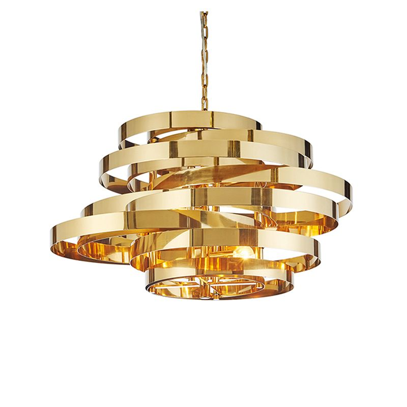 Post modern Art Deco Tornado LED pendant light stainless plating gold circle deisgn LED droplight 5pcs E14 lamp hotel hall store