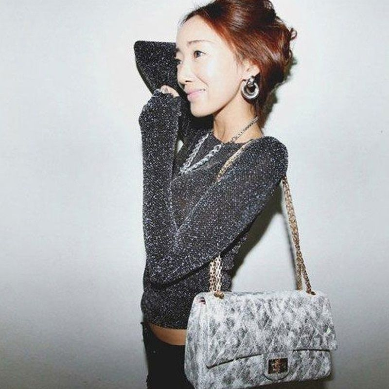 Korean silver glitter BLING shoulder sexy slim shirt with long sleeves, long sleeved Silver