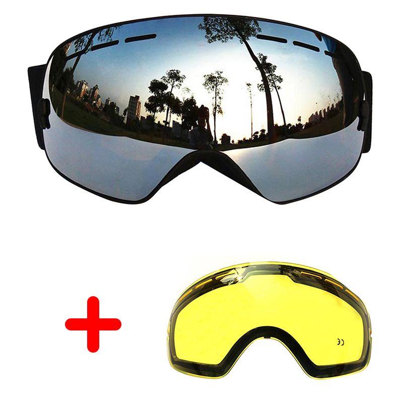 COPOZZ Ski Goggles Double Lens Anti-fog Large Glasses Skiing Unisex Snowboard Goggles Spherical Mask ski goggles UA400+Lens