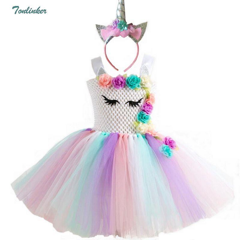 Rainbow Unicorn Pony Tutu Dress with Hair Hoop Princess Flower Girls Party Dress Children Kids Halloween Unicorn Costume 2-10Y