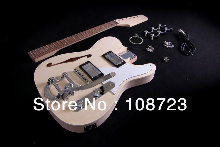 Bricolage Kit guitare électrique corps Semi creux F trou boulon sur acajou cou Thinline Deluxe