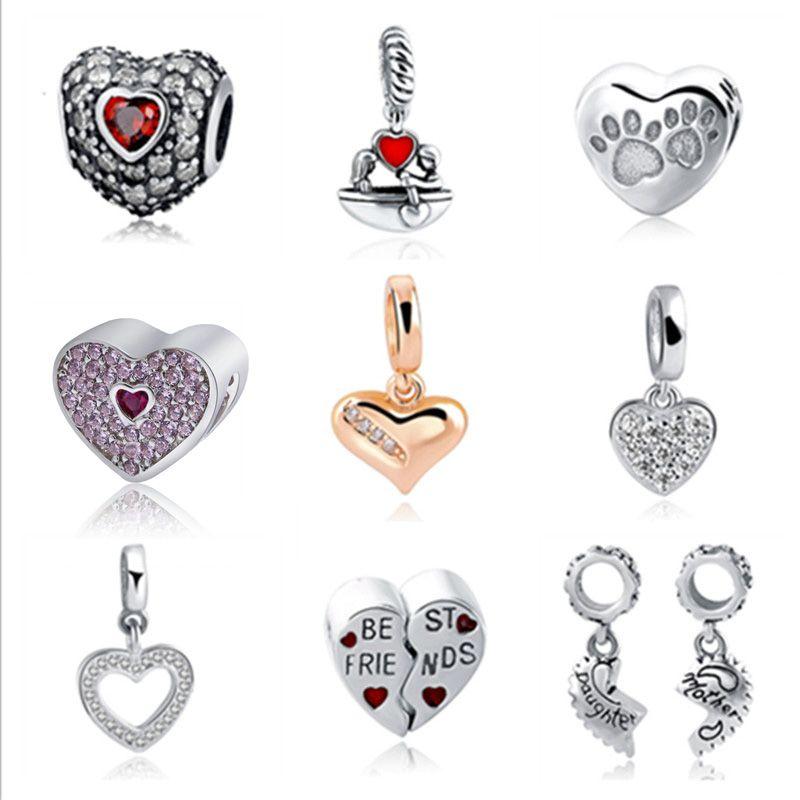 Fit Authentique Pandora Charms argent 925 D'origine Antique Amour Coeurs Zircon Forme Bracelet Perles Bijoux Pour Cadeaux du Jour de Mère