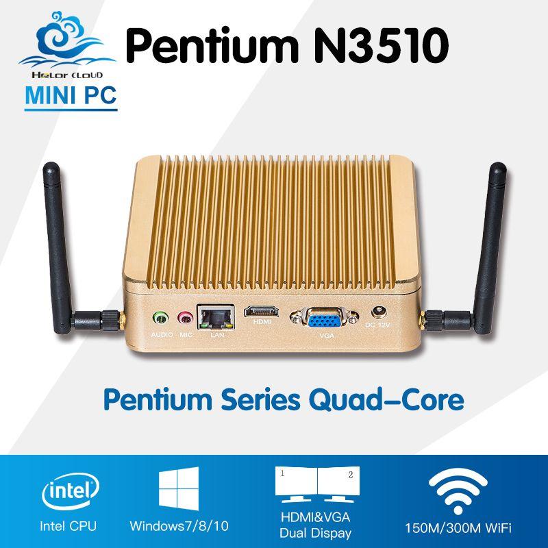 Promotion Mini PC Intel Pentium N3510 Quad Core Windows 10 Linux Mini-Ordinateur PC Avec Wifi HTPC TV Box Computadora