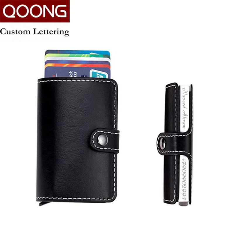 QOONG Laser Engraving Travel Card Wallet Purse Automatic Pop Up ID Credit Card Holder Men Women Business Card Case KH1-004