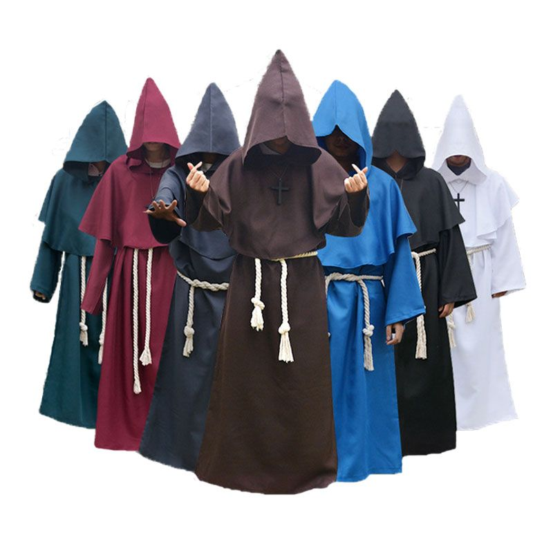 Umorden Comic Con Easter Purim Halloween Costume for Men Medieval Monk Priest Costumes Christian Friar Missionary Cosplay Robe