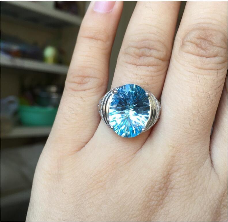 Man Ring Wedding Topaz Ring gem Finger ring Natural real blue topaz 925 sterling silver ring Wholesales For men or women
