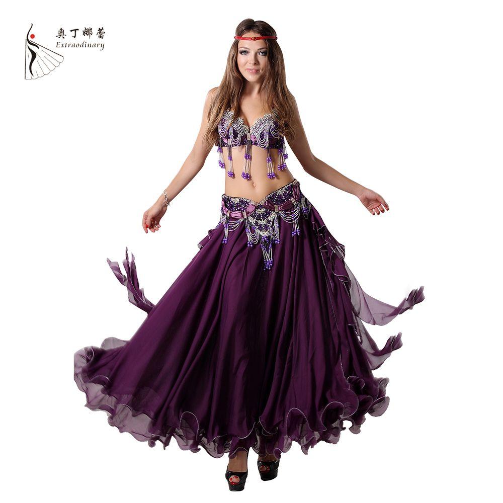 Rendimiento 11 colores mujeres dancewear profesional tamaño s-xl 3 unids traje BRA cinturón falda largo oriental Cuentas traje danza del vientre