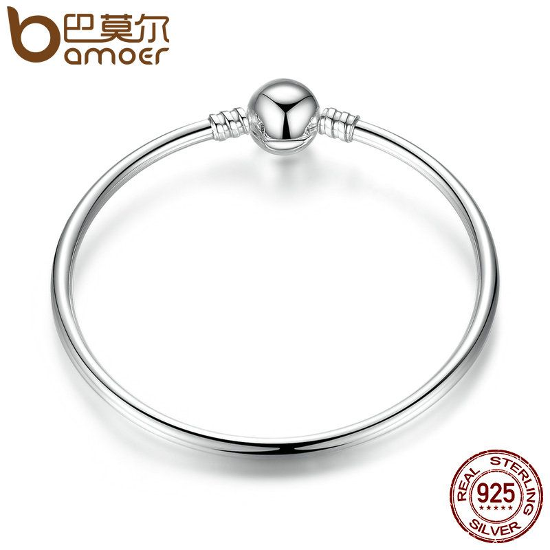 BAMOER Authentic 100% 925 Sterling Silver Classic Snake Chain Bangle & Bracelet Luxury Sterling Silver Jewelry S925 PAS903