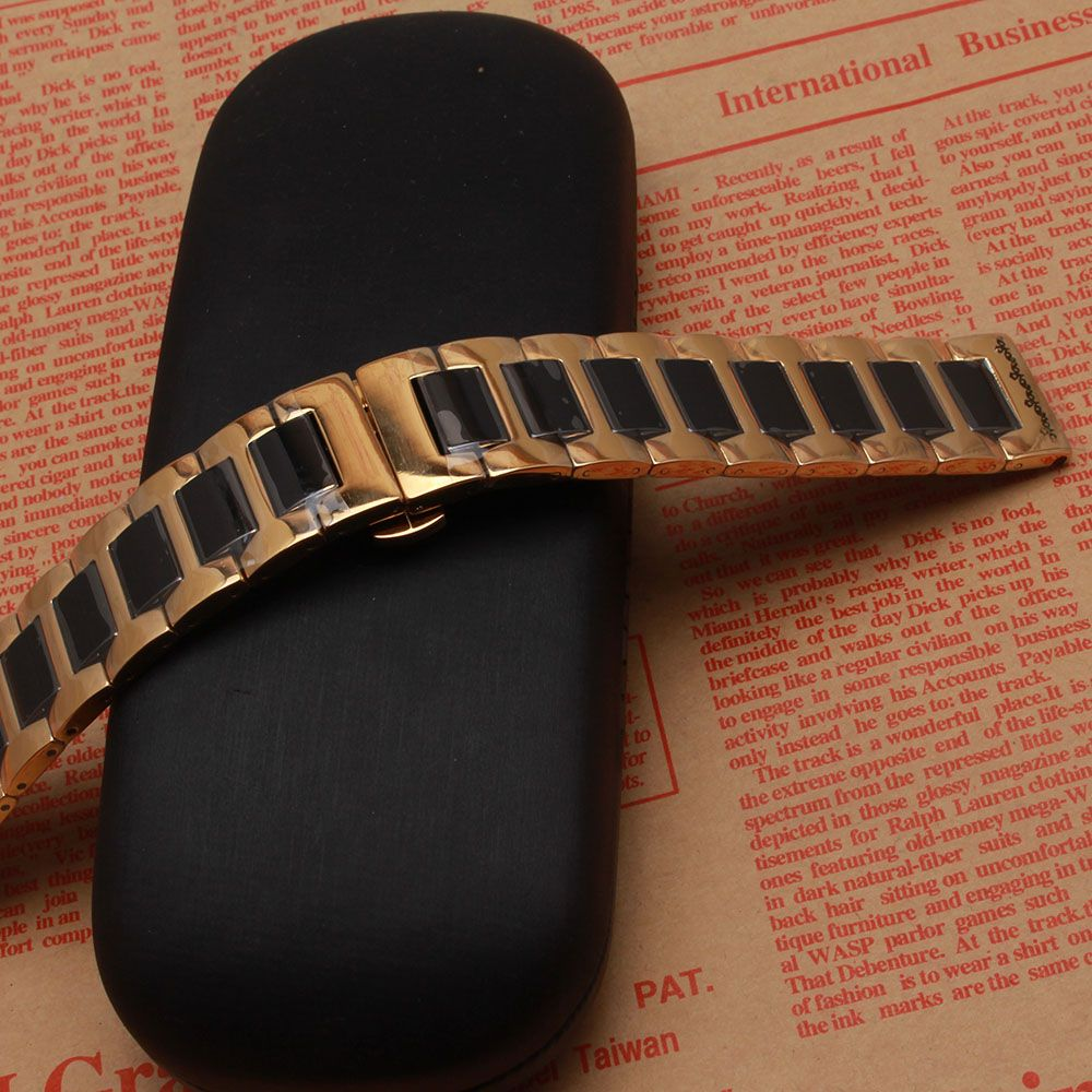 2017 Promotion New replace 22mm Watch Band Ceramic Gold with Black Strap for Samsung Gear S3 Classic Butterfly Buckle watchbands