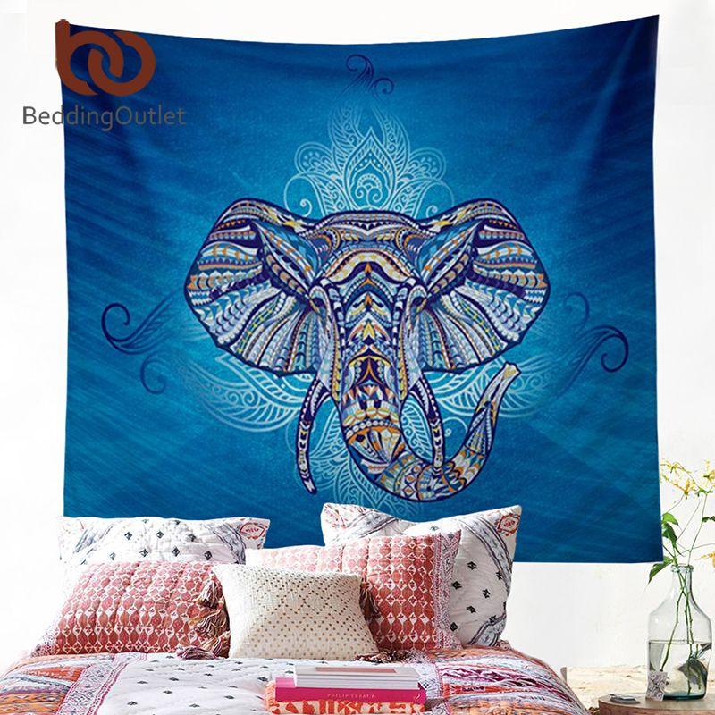 BeddingOutlet Éléphant Tapisserie Tenture Animal Double Hippie Tapisserie Bleu Boho Hippie Bohème Dortoir Décor 150x150 cm Couvre-lit
