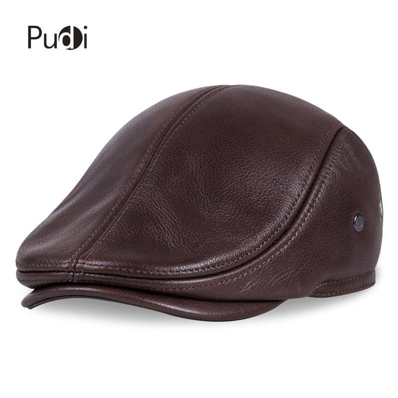 HL042 printemps hommes véritable en cuir de vache casquette de baseball marque gavroche/béret chapeau hiver chaud casquettes et chapeaux hommes avec oreilles oreille rabat