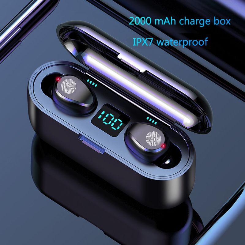 Ecouteurs Bluetooth sans fil habillés 5.0 TWS Mini casque sans fil avec boîte de charge écouteurs de sport écouteurs de jeu