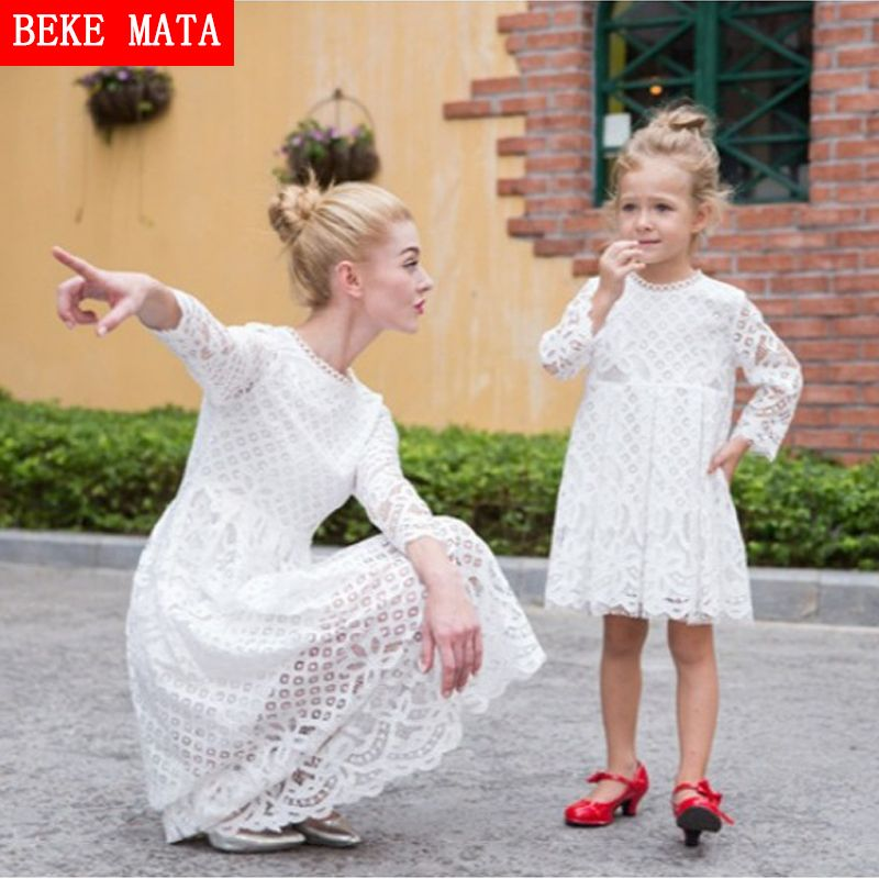 BEKE MATA Mother Daughter Dresses 2017 New Autumn Lace <font><b>Hollow</b></font> Mother Daughter Matching Clothes Family Look Girl And Mom Clothing