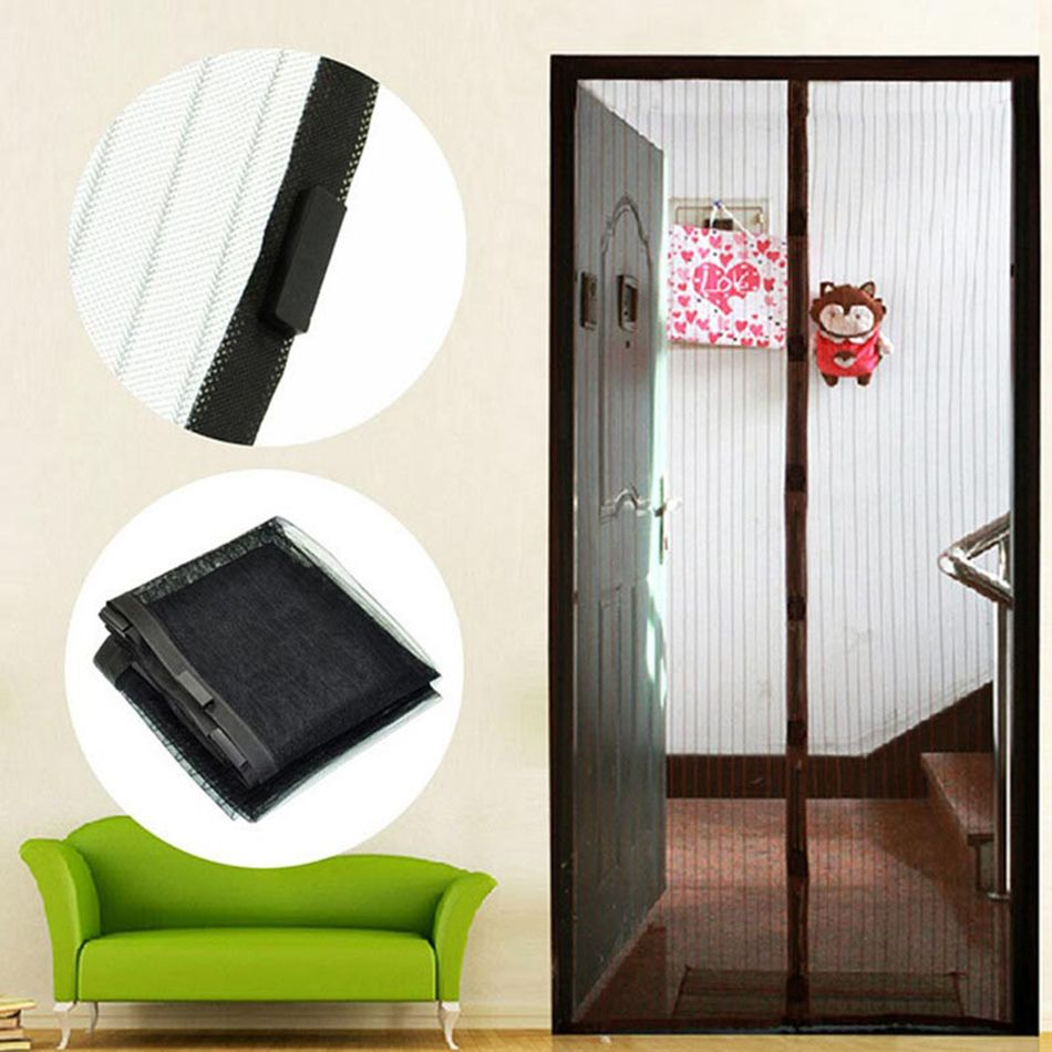 High Quality Door Curtain Magic Hands-free Screen Door Mesh Summer Mosquito Net Curtain Polyester Door Curtain Black 210cm*100cm