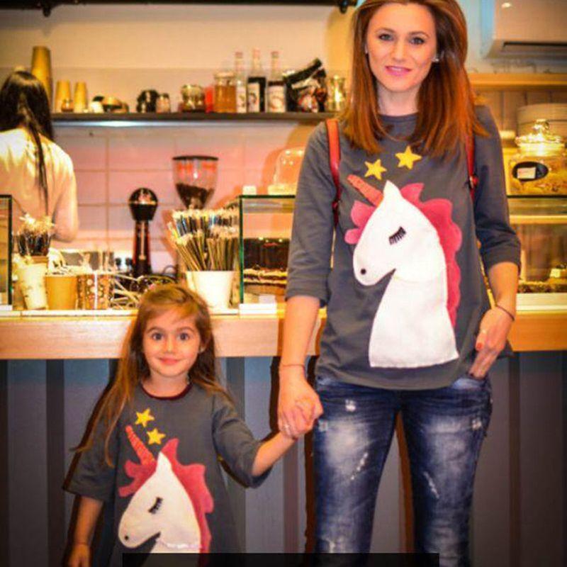 Bear Leader/2018 Новый стиль Наборы для семьи Мать и дочь Единорог Вышивка одежда для мамы и дочки