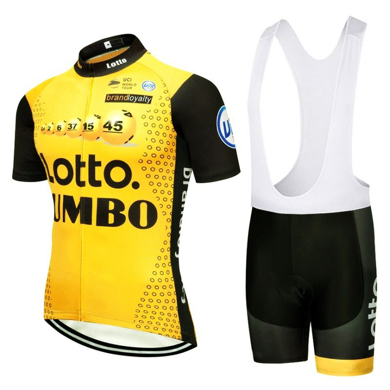 2018 pro tour team yellow lotto cycling jersey kits mens quick dry summer bike cloth MTB Ropa Ciclismo Bicycle maillot gel pad