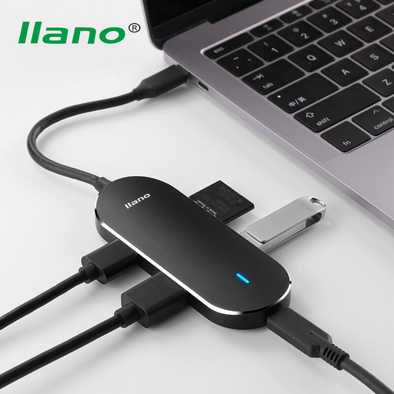 llano 5 in 1 USB Type C to HDMI USB3.0 HUB Converter Type-C Card Reader Adapter Cable USB-C PD Charging Port for PC Phone Tablet