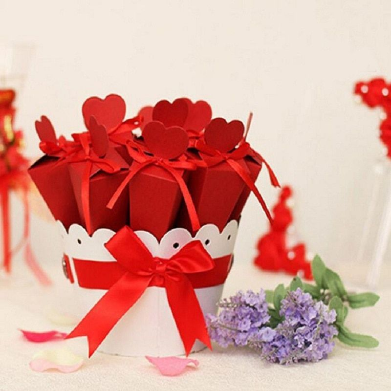 Boîte de bonbons sac chocolat papier cadeau paquet pour Fête D'anniversaire De Mariage faveur Décor fournitures BRICOLAGE bébé douche panier fleurs