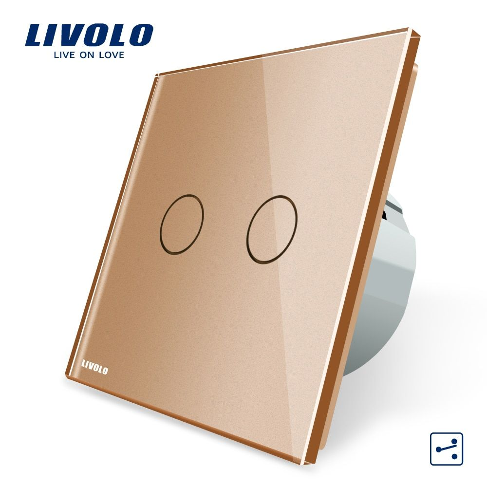 Manufacturer, Livolo EU Standard Touch Switch,  220~250V,2 Gang 2 Way Control, Wall Light Switch,VL-C702S-13 In Golden Color