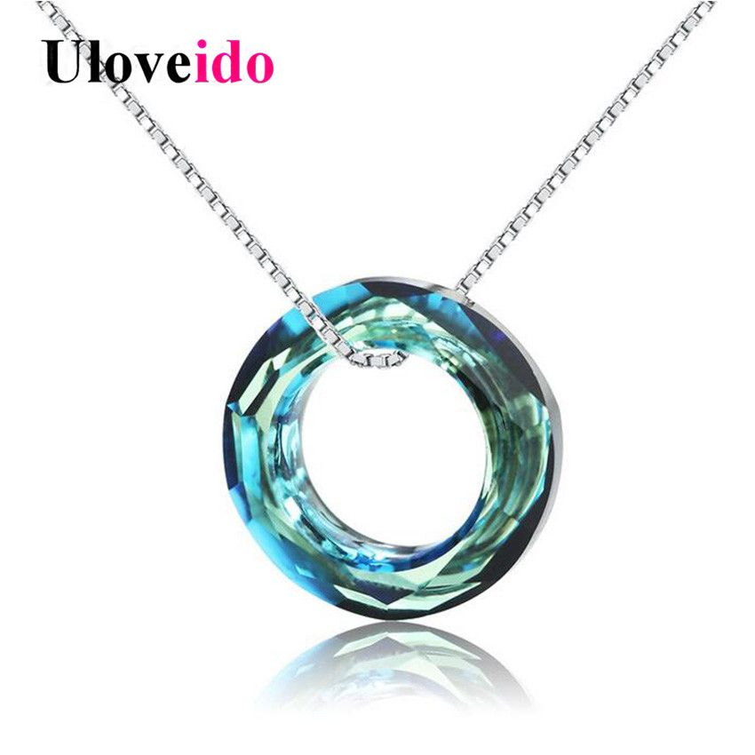 Uloveido 40% Off Cute Necklaces & Pendants Colar Necklace Women Suspension Silver 925 Jewelry Collier Blue Zircon with Box WT150