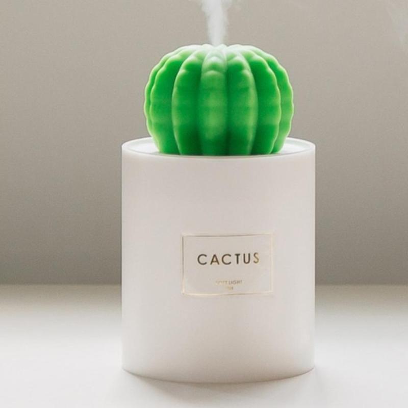 280 ml USB Air Humidificateur Cactus Calendrier Aromathérapie Diffuseur Mist Maker Fogger Mini Aroma Diffuseur Avec Night Light pour La Maison