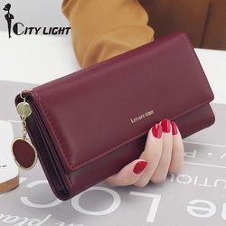 New Fashion Wanita Dompet Panjang Gaya dompet multi-fungsional Tas Segar PU kulit Pemegang Kartu Kopling Perempuan