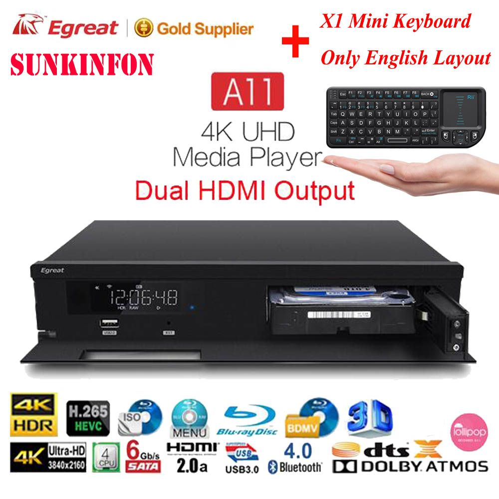 Egreat A11 3D 4K Blu-ray HDD Media Player 2GB 16GB Dual HDMI Output Bluetooth Android TV Box Dolby Atmos/DTS:X, for Home Theatre