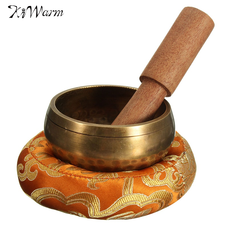 KiWarm 8cm Hand Hammered Chakra Tibetan Singing Bowl Set Wood Sticker Mat for Meditation Yoga Buddhism Gifts Home <font><b>Decor</b></font> Crafts