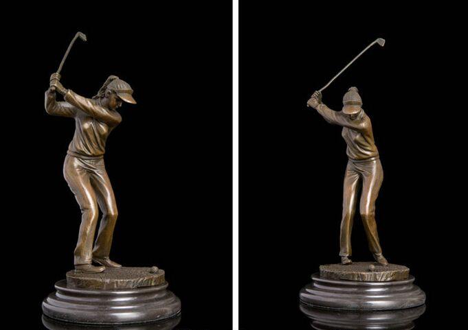 Art Deco Skulptur Weiblichen Golf Player Bronze Statue großhandel Bronze Kunst outlets