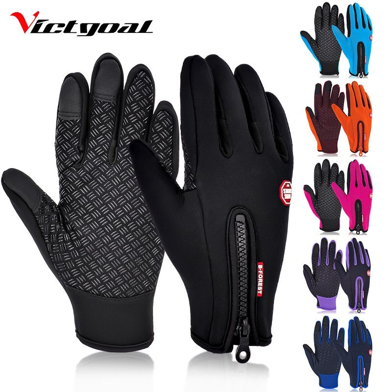 VICTGOAL Cycling Gloves Full Finger Skiing Gloves Men Women Fleece Hiking Gloves Waterproof Screen Touch Motorcycling Glove
