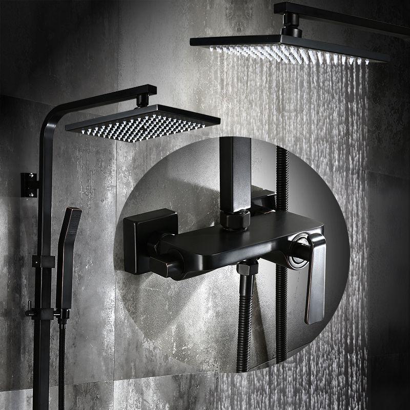 Bathroom Black Oil Paint Solid Brass Bathtub Shower Set Wall Mounted 8